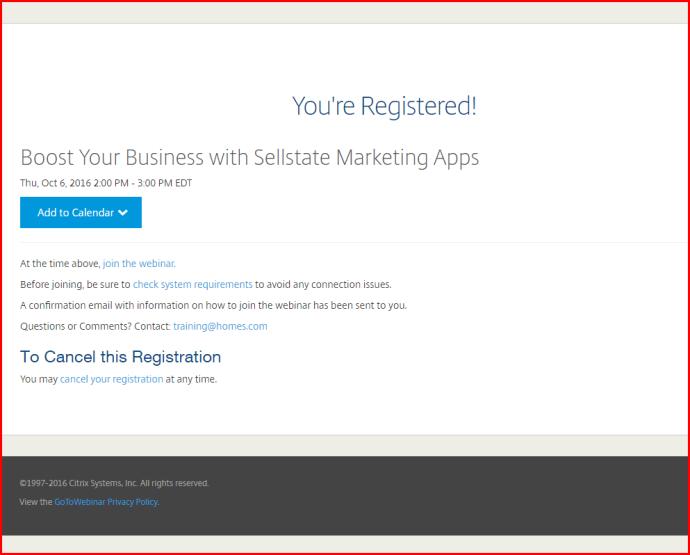 screenshot of already registered