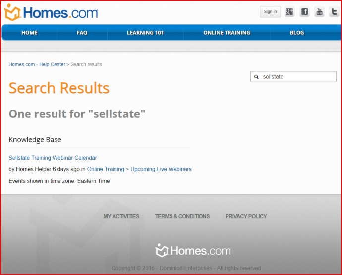 screenshot of search result