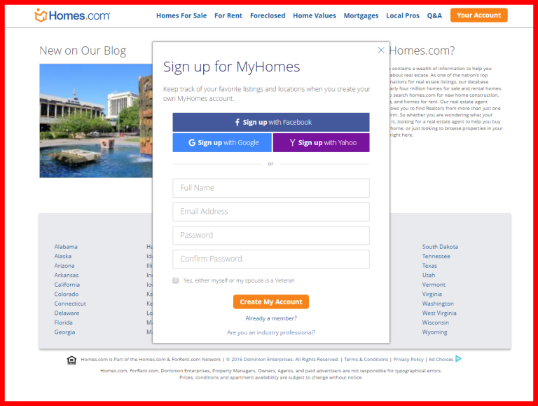 screenshot of sign up for MYHomes