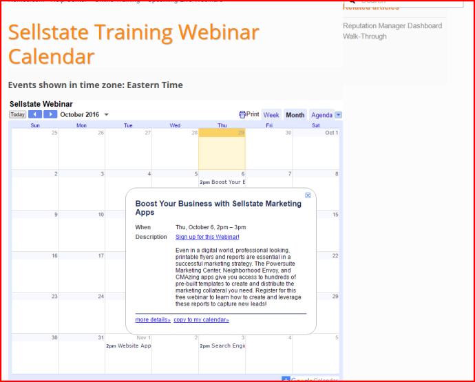 screenshot of webinar calendar