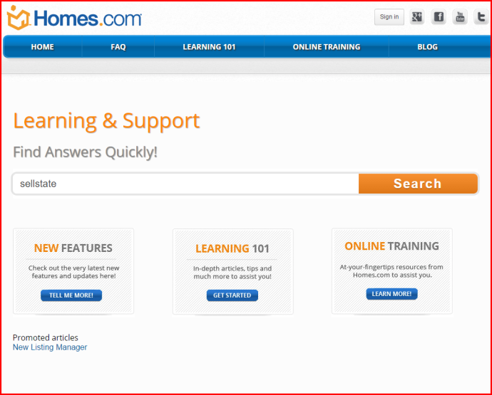 screenshot search box in Homes.com
